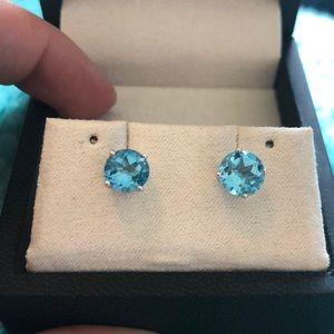 Blue Nile 14k white gold blue topaz stud earrings
